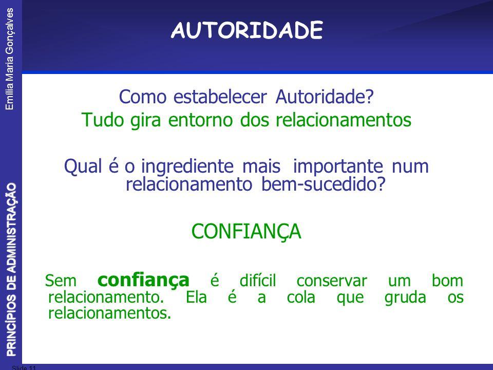 Emília Maria Gonçalves Slide 11 PRINCÍPIOS DE ADMINISTRAÇÃO AUTORIDADE Como estabelecer Autoridade? Tudo gira entorno dos relacionamentos Qual é o ing