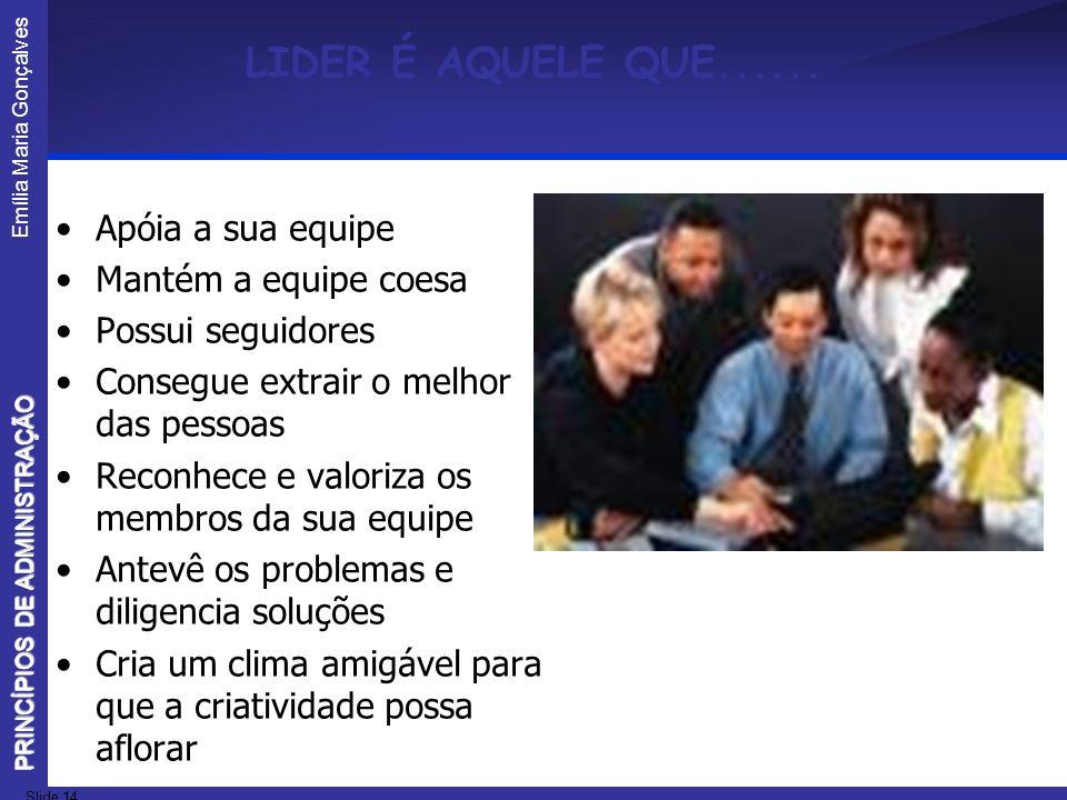 Emília Maria Gonçalves Slide 14 PRINCÍPIOS DE ADMINISTRAÇÃO LIDER É AQUELE QUE...... Apóia a sua equipe Mantém a equipe coesa Possui seguidores Conseg