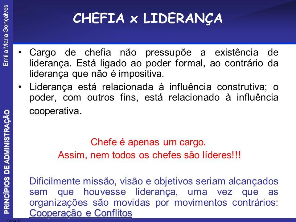 Emília Maria Gonçalves Slide 18 PRINCÍPIOS DE ADMINISTRAÇÃO CHEFIA x LIDERANÇA Cargo de chefia não pressupõe a existência de liderança. Está ligado ao