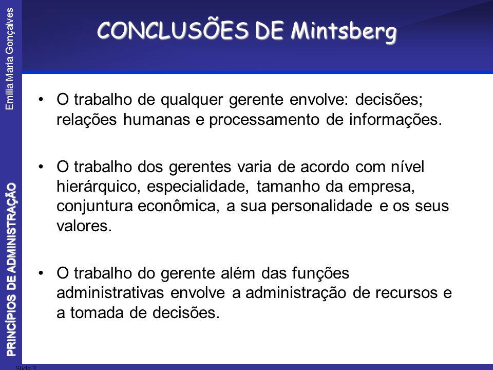 Emília Maria Gonçalves Slide 3 PRINCÍPIOS DE ADMINISTRAÇÃO CONCLUSÕES DE Mintsberg O trabalho de qualquer gerente envolve: decisões; relações humanas