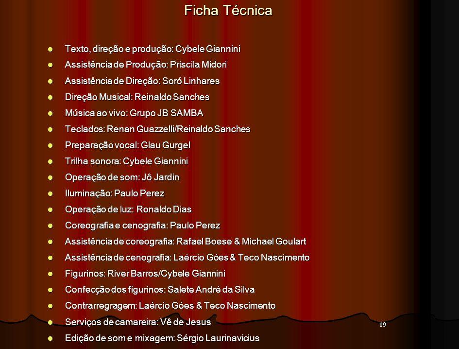 19 Ficha Técnica Texto, direção e produção: Cybele Giannini Texto, direção e produção: Cybele Giannini Assistência de Produção: Priscila Midori Assist