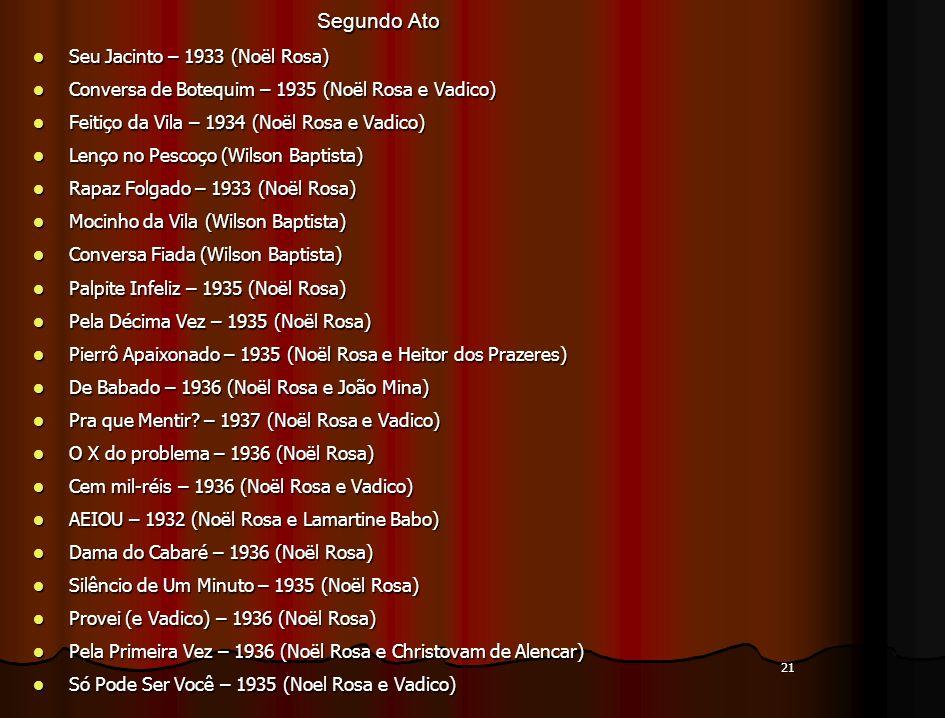 21 Segundo Ato Seu Jacinto – 1933 (Noël Rosa) Seu Jacinto – 1933 (Noël Rosa) Conversa de Botequim – 1935 (Noël Rosa e Vadico) Conversa de Botequim – 1