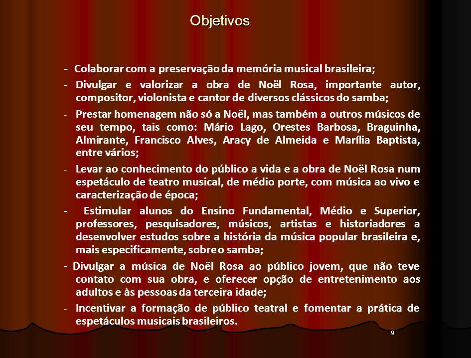 9Objetivos - - Colaborar com a preservação da memória musical brasileira; - Divulgar e valorizar a obra de Noël Rosa, importante autor, compositor, vi