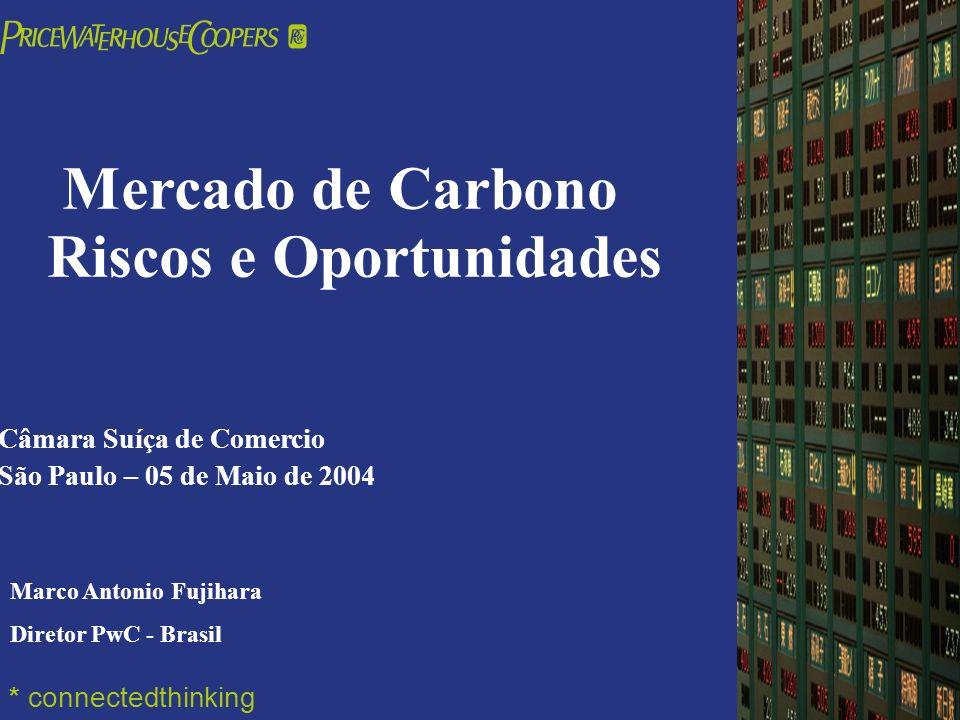 PricewaterhouseCoopers Mercado de Carbono Riscos e Oportunidades Câmara Suíça de Comercio São Paulo – 05 de Maio de 2004 * connectedthinking Marco Ant