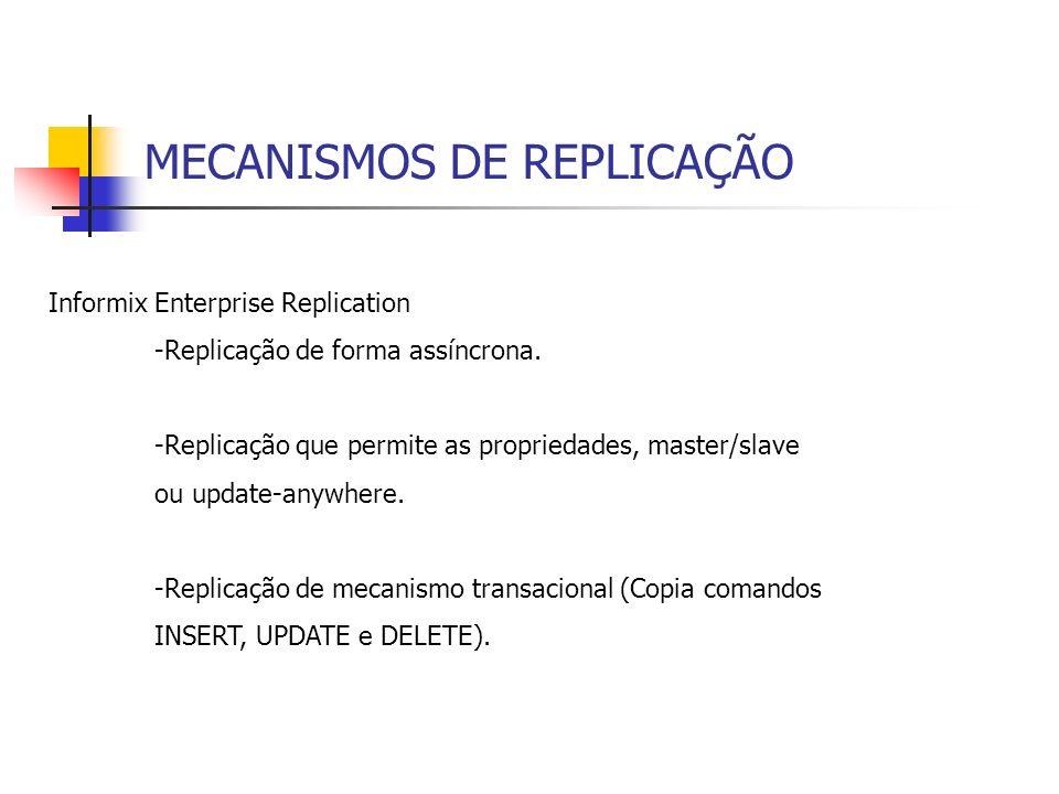 MECANISMOS DE REPLICAÇÃO Informix Enterprise Replication -Enterprise Replication garante a integridade dos dados, usando um processo de sincronização de dados que permite que as transações sejam aplicadas ao banco alvo na mesma ordem em que foram commitadas nos bancos origem.