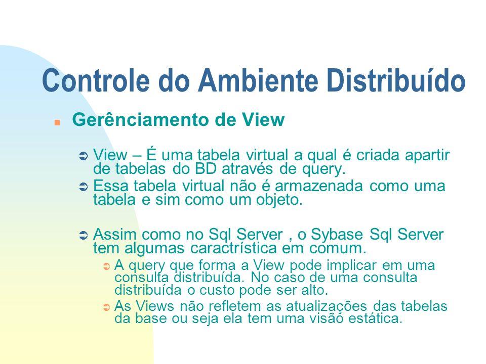 Controle do Ambiente Distribuído n Gerênciamento de View Ü View – É uma tabela virtual a qual é criada apartir de tabelas do BD através de query. Ü Es