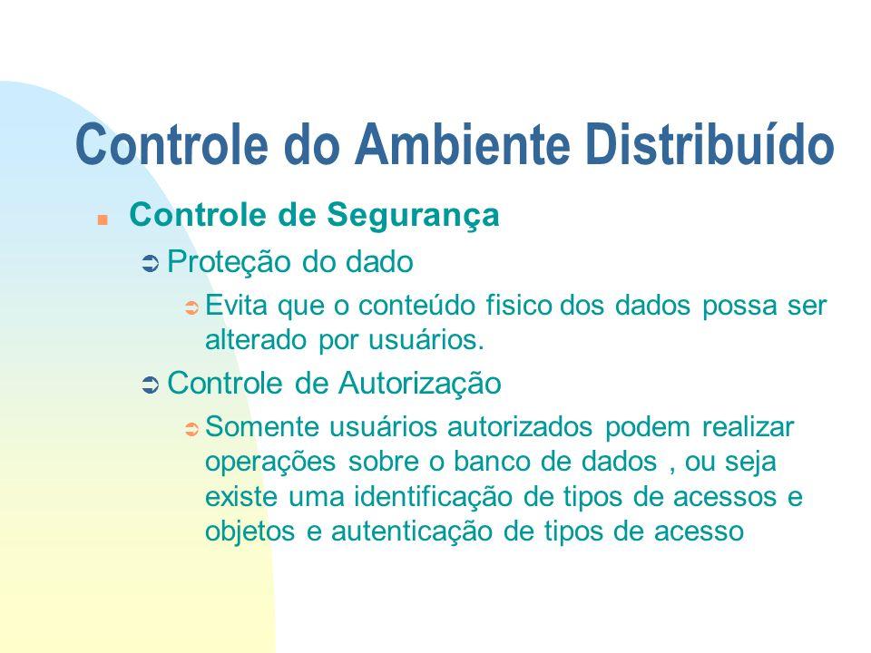 Controle do Ambiente Distribuído n Controle de Segurança Ü Proteção do dado Ü Evita que o conteúdo fisico dos dados possa ser alterado por usuários. Ü