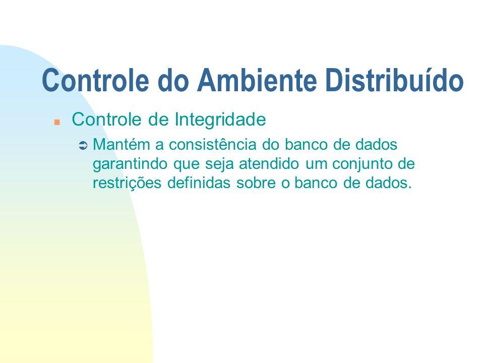 Controle do Ambiente Distribuído n Controle de Integridade Ü Mantém a consistência do banco de dados garantindo que seja atendido um conjunto de restr