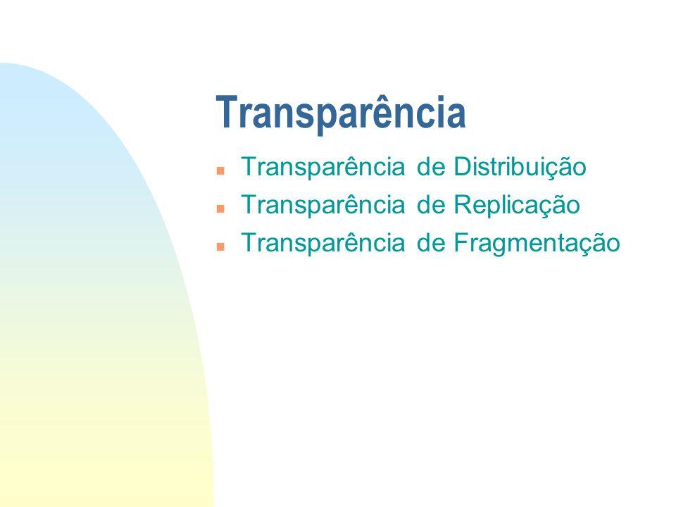 Transparência n Transparência de Distribuição n Transparência de Replicação n Transparência de Fragmentação