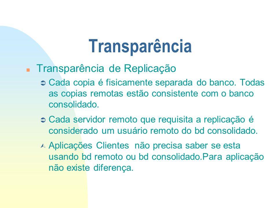 Transparência n Transparência de Replicação Ü Cada copia é fisicamente separada do banco. Todas as copias remotas estão consistente com o banco consol
