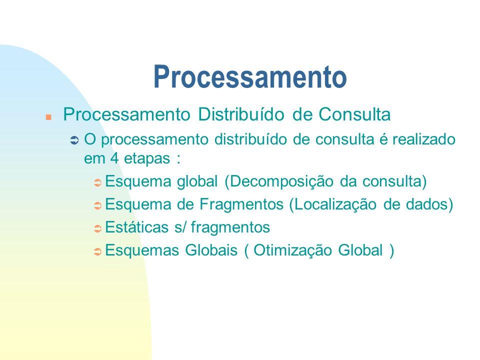 Processamento n Processamento Distribuído de Consulta Ü O processamento distribuído de consulta é realizado em 4 etapas : Ü Esquema global (Decomposiç