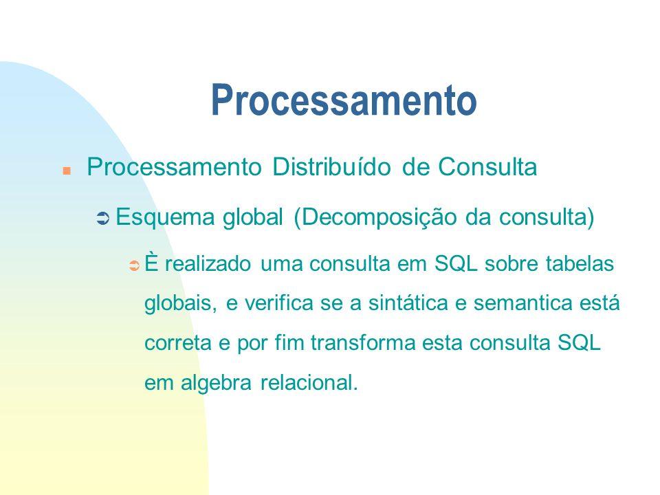 Processamento n Processamento Distribuído de Consulta Ü Esquema global (Decomposição da consulta) Ü È realizado uma consulta em SQL sobre tabelas glob