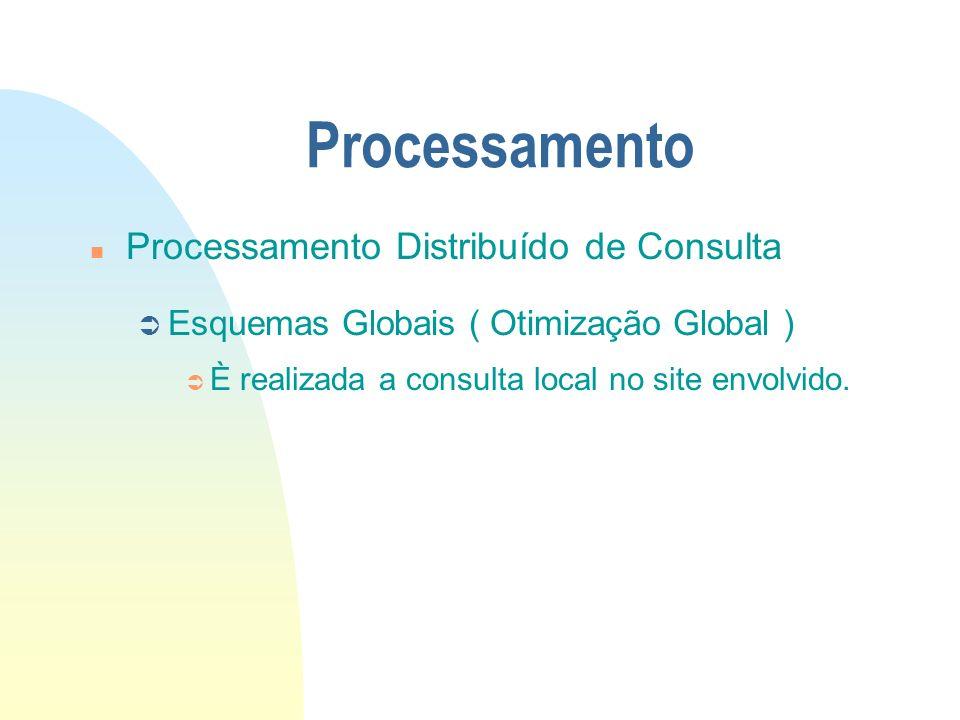 Processamento n Processamento Distribuído de Consulta Ü Esquemas Globais ( Otimização Global ) Ü È realizada a consulta local no site envolvido.