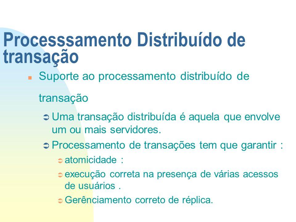 Processsamento Distribuído de transação n Suporte ao processamento distribuído de transação Ü Uma transação distribuída é aquela que envolve um ou mai