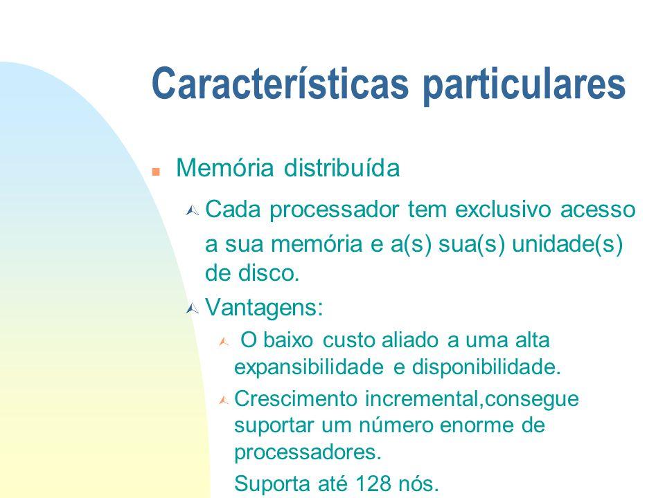 Características particulares n Memória distribuída Cada processador tem exclusivo acesso a sua memória e a(s) sua(s) unidade(s) de disco. Vantagens: O