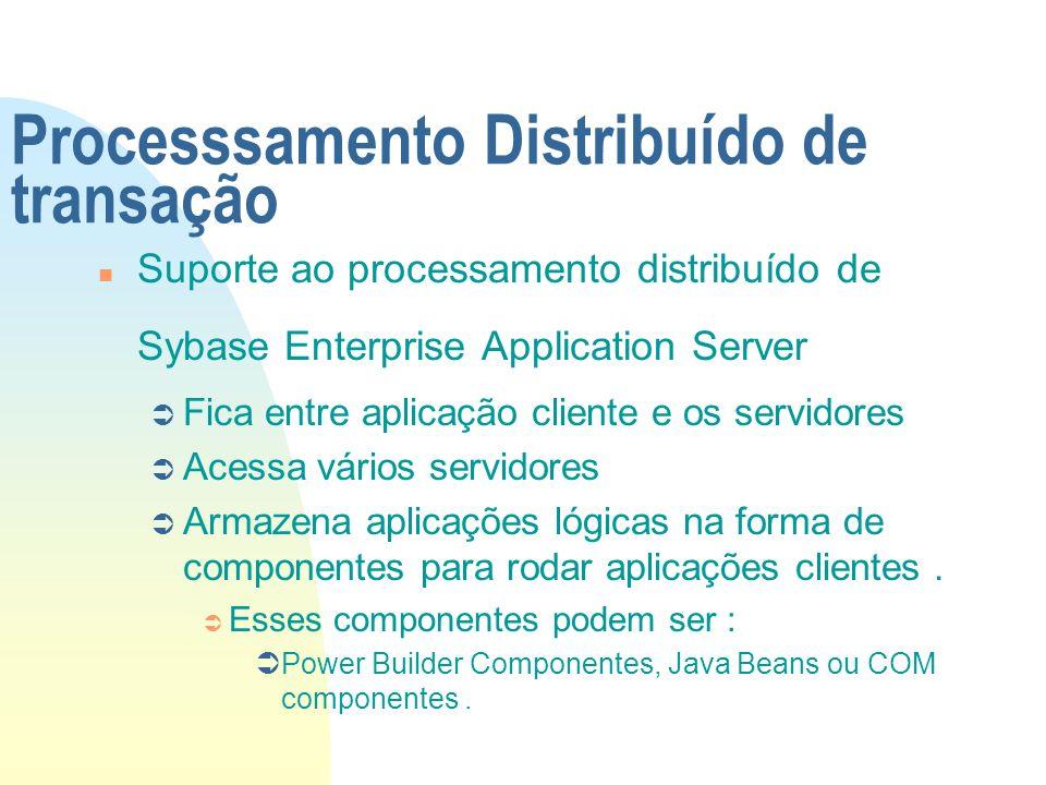 Processsamento Distribuído de transação n Suporte ao processamento distribuído de Sybase Enterprise Application Server Ü Fica entre aplicação cliente