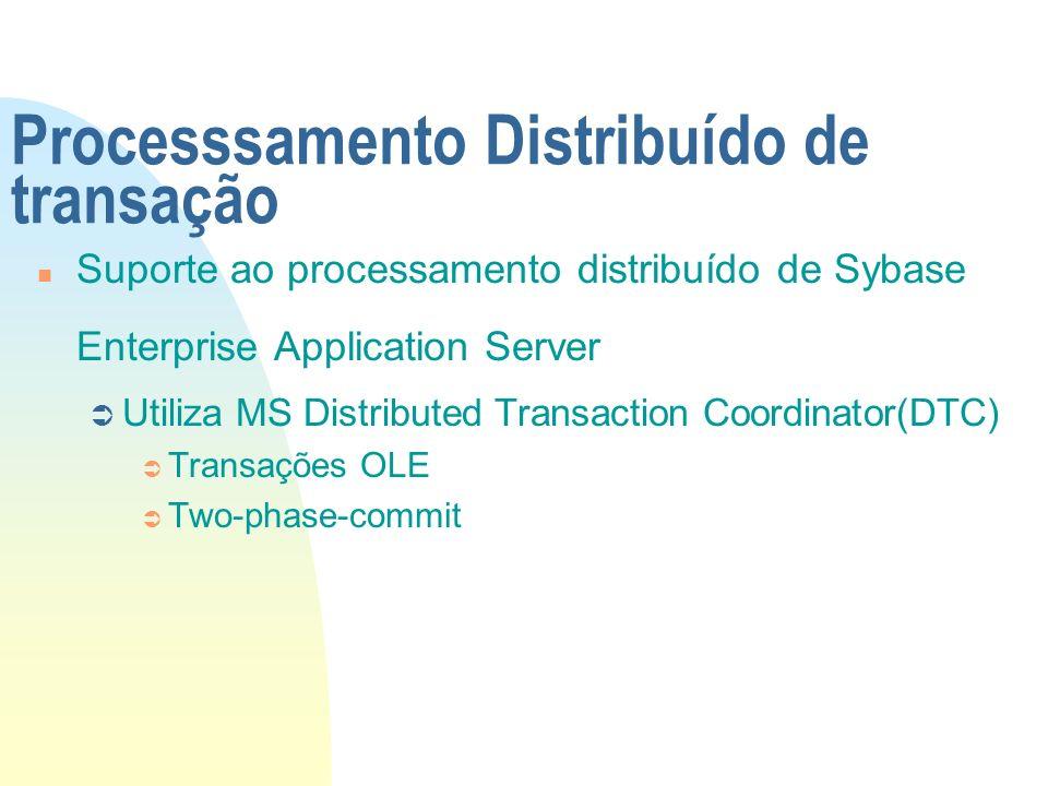 Processsamento Distribuído de transação n Suporte ao processamento distribuído de Sybase Enterprise Application Server Ü Utiliza MS Distributed Transa