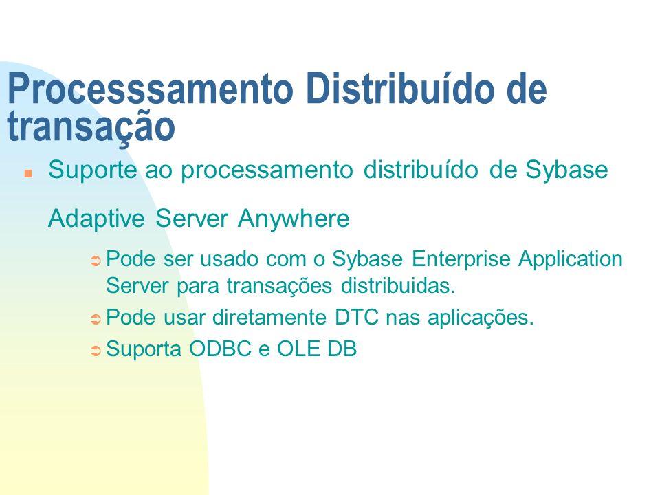 Processsamento Distribuído de transação n Suporte ao processamento distribuído de Sybase Adaptive Server Anywhere Ü Pode ser usado com o Sybase Enterp