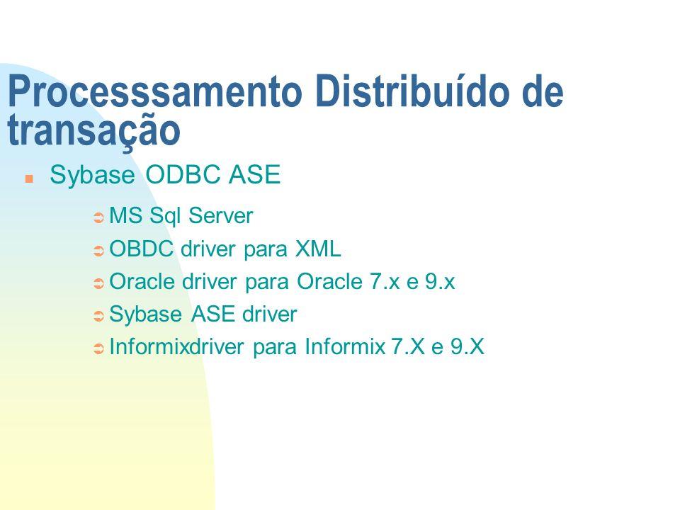 Processsamento Distribuído de transação n Sybase ODBC ASE Ü MS Sql Server Ü OBDC driver para XML Ü Oracle driver para Oracle 7.x e 9.x Ü Sybase ASE dr