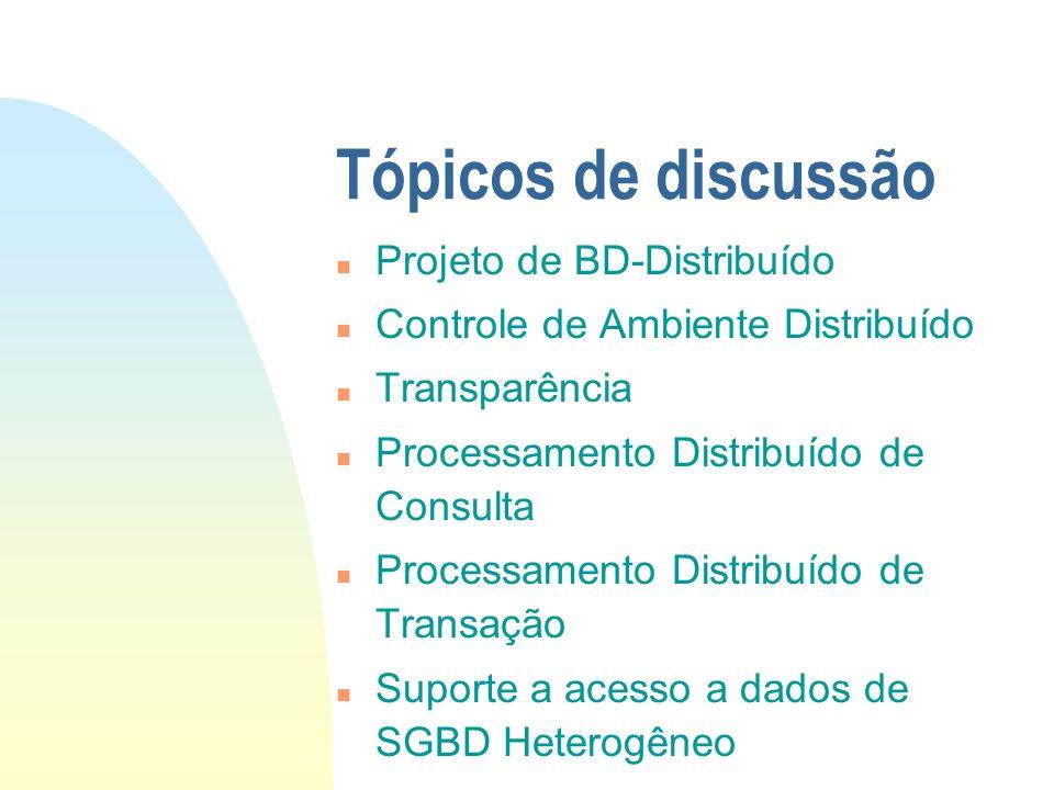 Tópicos de discussão n Projeto de BD-Distribuído n Controle de Ambiente Distribuído n Transparência n Processamento Distribuído de Consulta n Processa