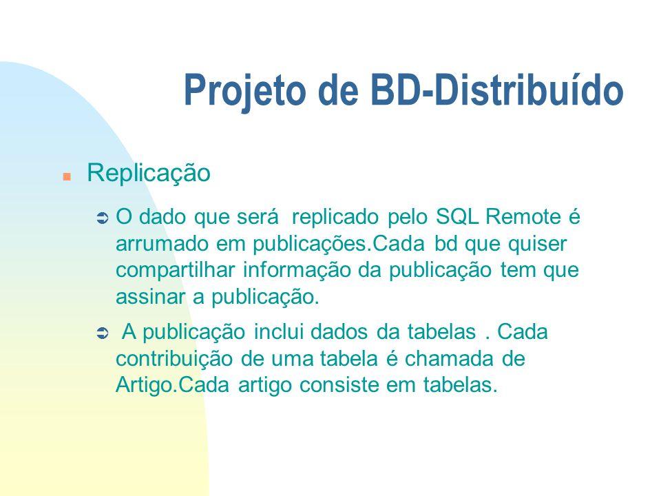 Projeto de BD-Distribuído n Replicação Ü O dado que será replicado pelo SQL Remote é arrumado em publicações.Cada bd que quiser compartilhar informaçã
