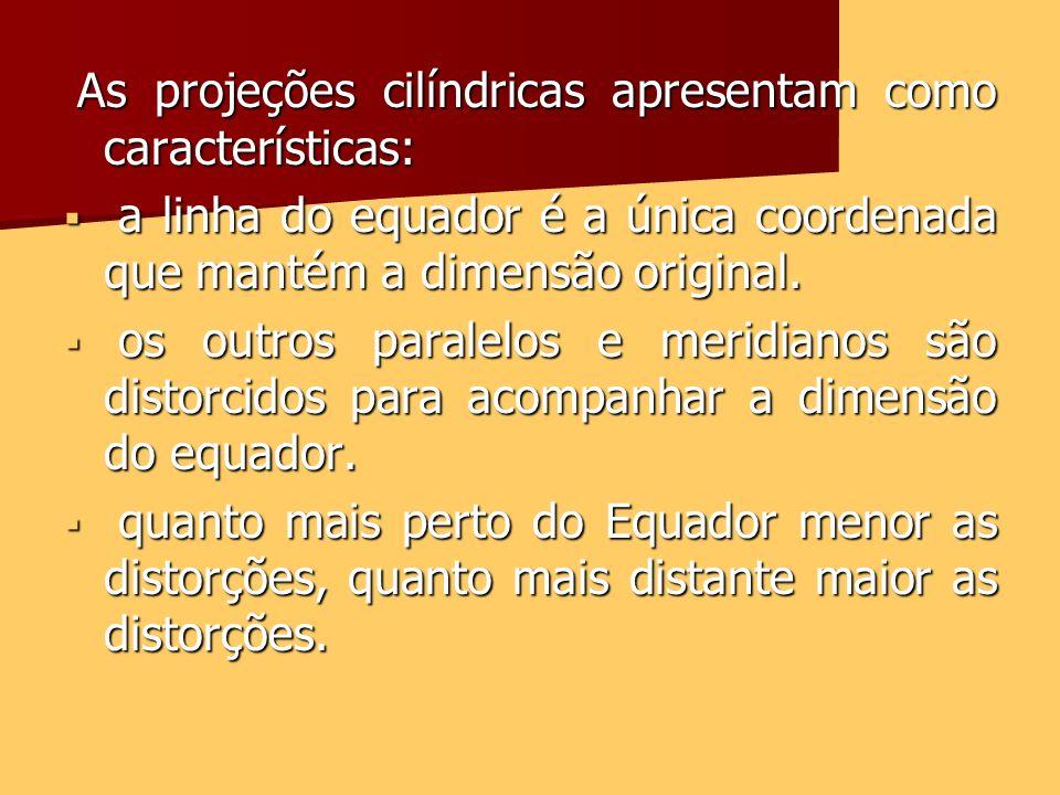 As projeções cilíndricas apresentam como características: As projeções cilíndricas apresentam como características: a linha do equador é a única coord