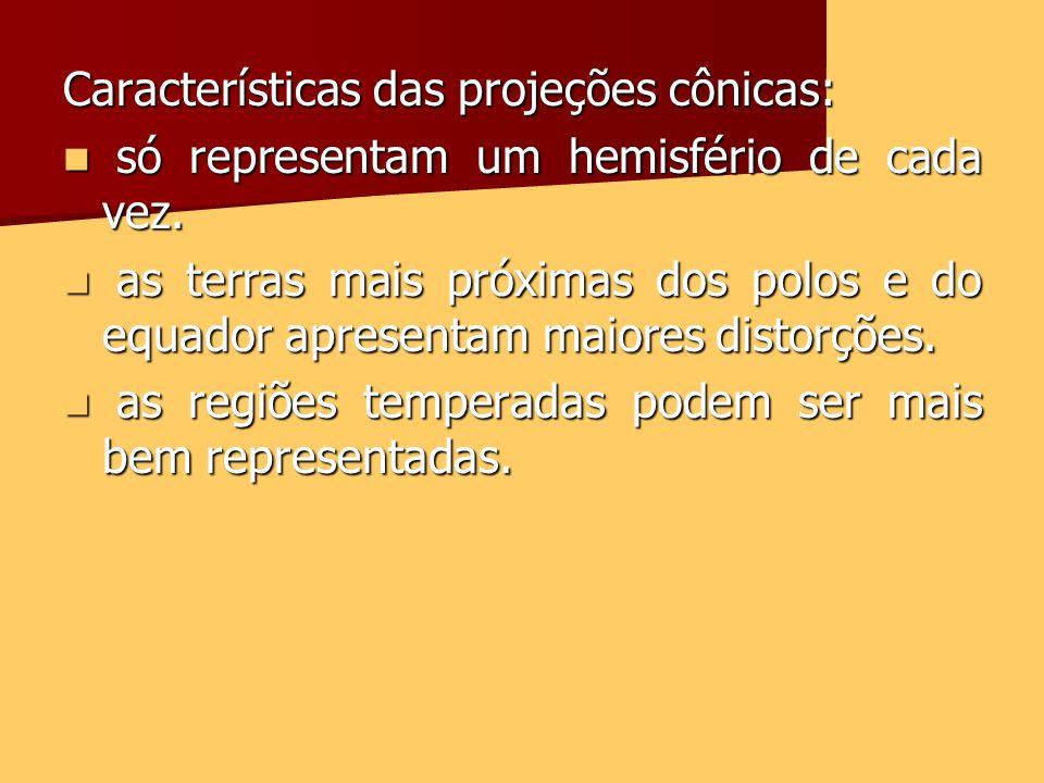 Características das projeções cônicas: só representam um hemisfério de cada vez. só representam um hemisfério de cada vez. as terras mais próximas dos