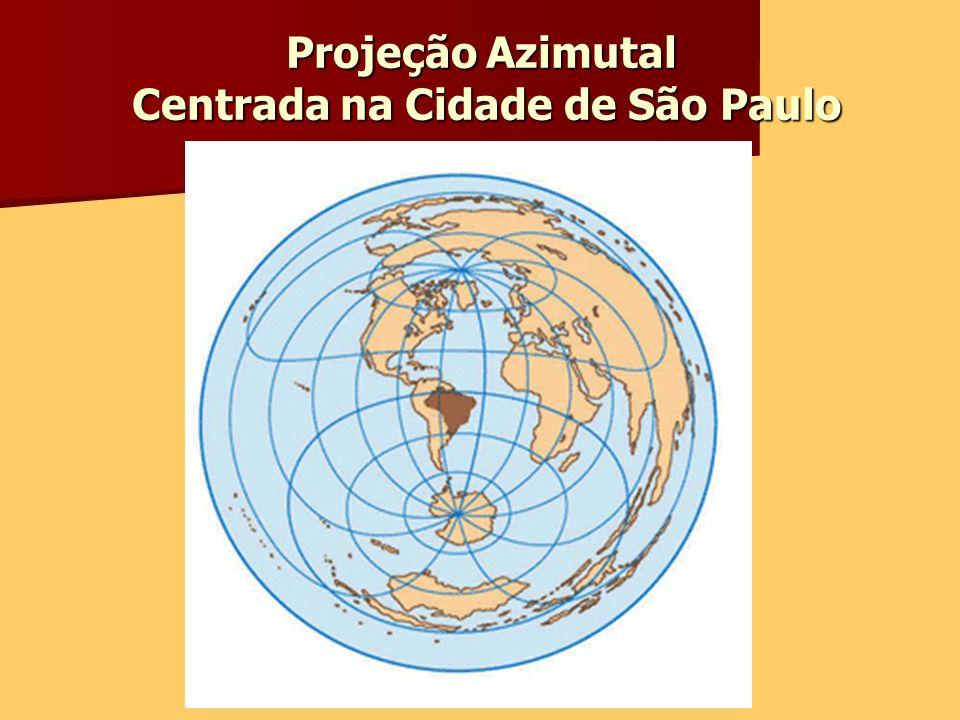 Projeção Azimutal Centrada na Cidade de São Paulo