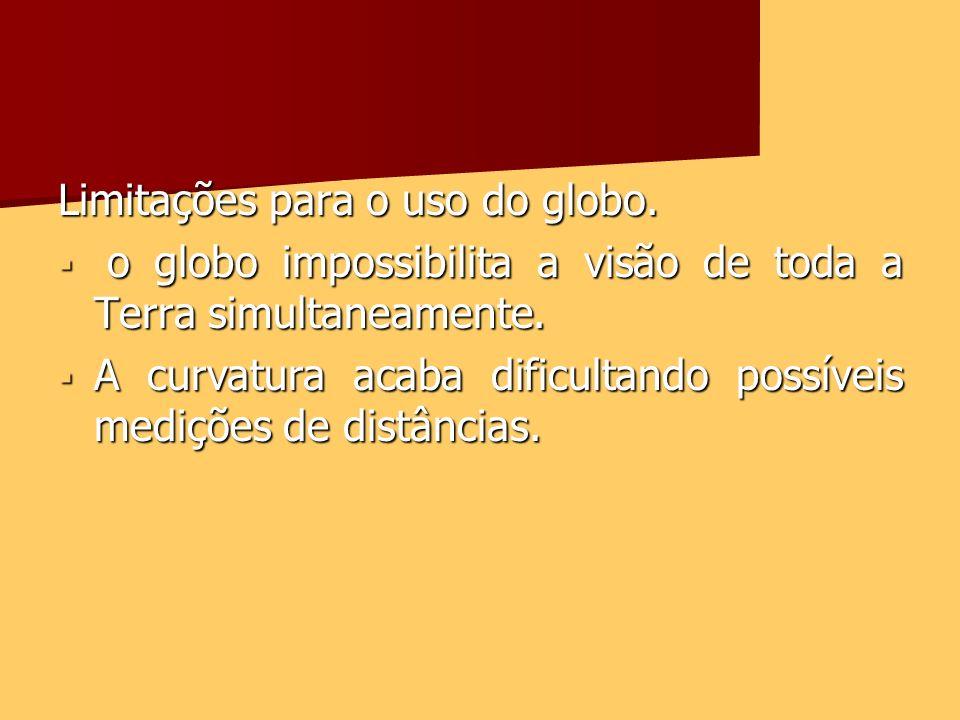 Limitações para o uso do globo. o globo impossibilita a visão de toda a Terra simultaneamente. o globo impossibilita a visão de toda a Terra simultane