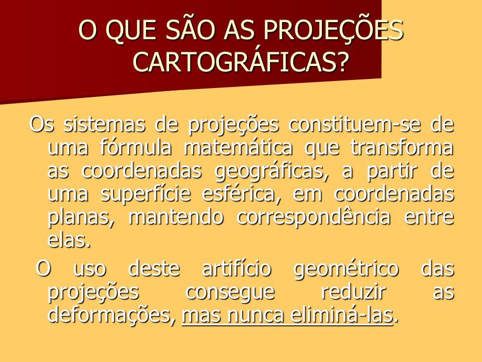 O QUE SÃO AS PROJEÇÕES CARTOGRÁFICAS? Os sistemas de projeções constituem-se de uma fórmula matemática que transforma as coordenadas geográficas, a pa