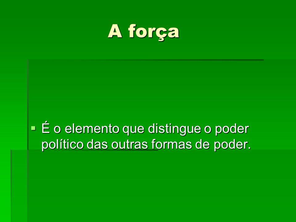 A força A força É o elemento que distingue o poder político das outras formas de poder. É o elemento que distingue o poder político das outras formas
