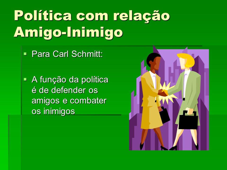 Política com relação Amigo-Inimigo Para Carl Schmitt: Para Carl Schmitt: A função da política é de defender os amigos e combater os inimigos A função