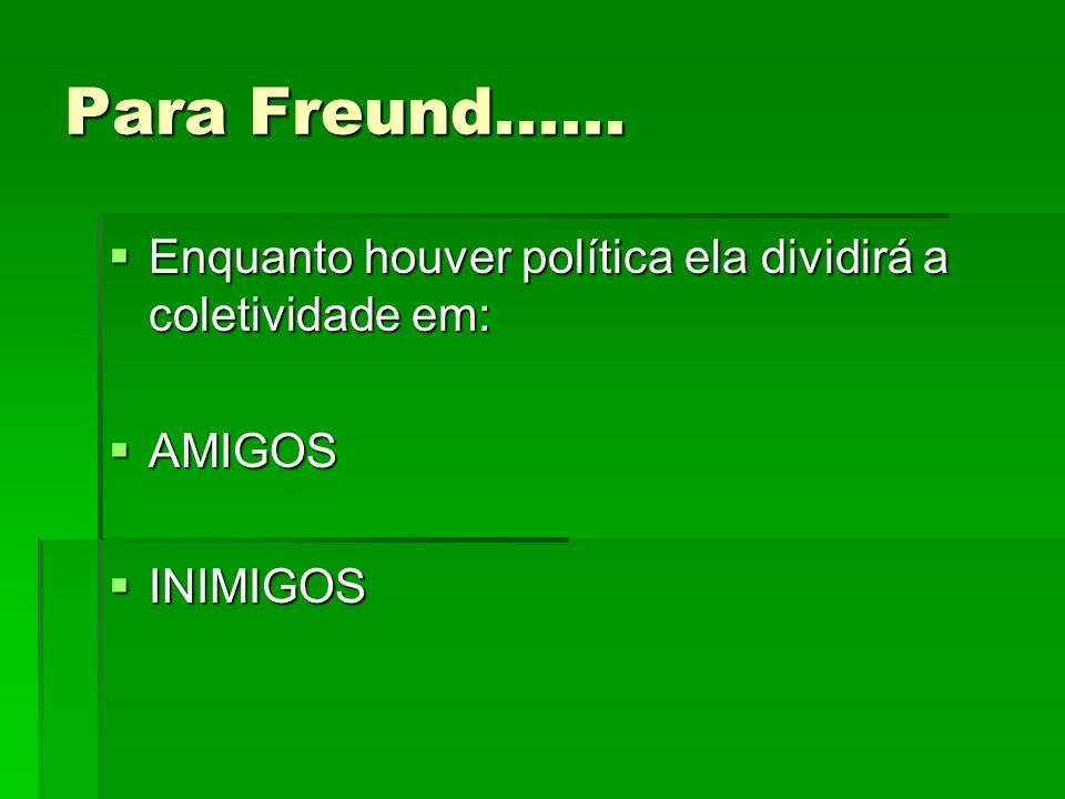 Para Freund...... Enquanto houver política ela dividirá a coletividade em: Enquanto houver política ela dividirá a coletividade em: AMIGOS AMIGOS INIM