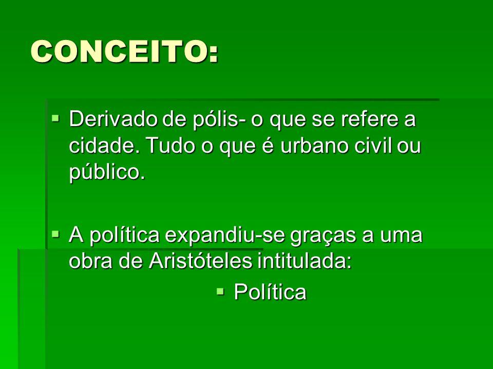 CONCEITO: Derivado de pólis- o que se refere a cidade. Tudo o que é urbano civil ou público. Derivado de pólis- o que se refere a cidade. Tudo o que é