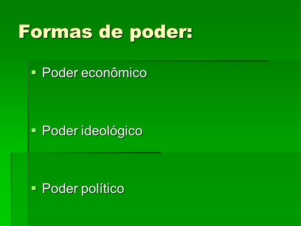 Formas de poder: Poder econômico Poder ideológico Poder político