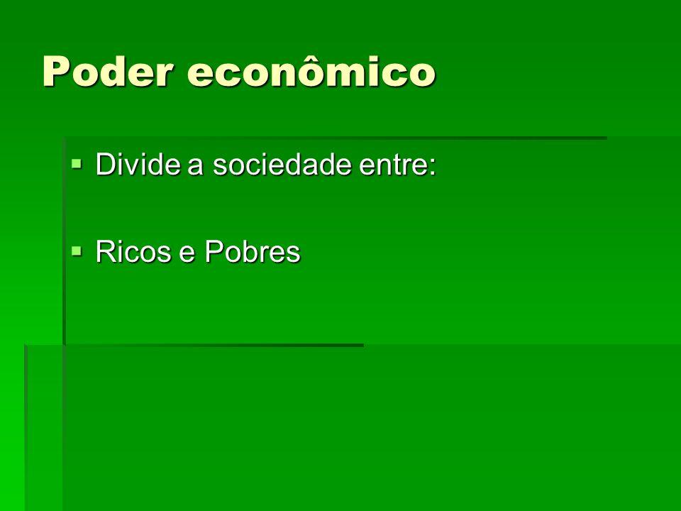 Poder econômico Divide a sociedade entre: Divide a sociedade entre: Ricos e Pobres Ricos e Pobres
