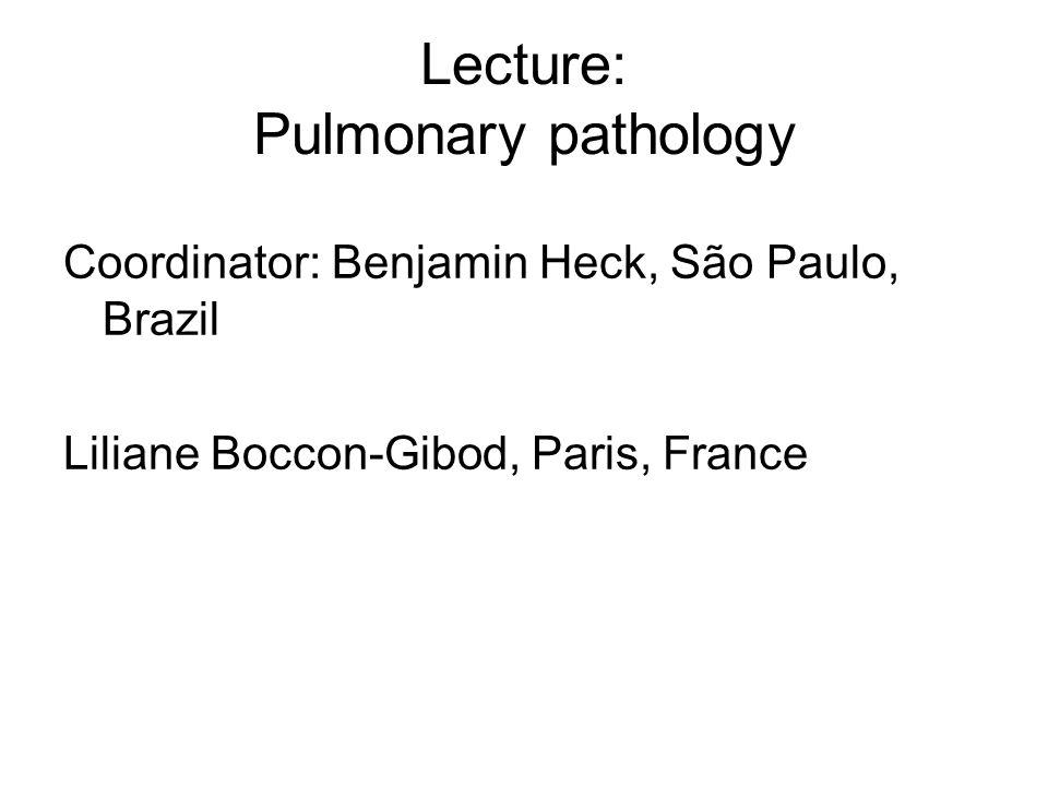 Lecture: Pulmonary pathology Coordinator: Benjamin Heck, São Paulo, Brazil Liliane Boccon-Gibod, Paris, France