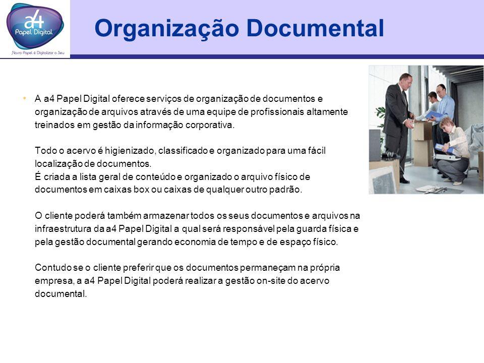 Organização Documental A a4 Papel Digital oferece serviços de organização de documentos e organização de arquivos através de uma equipe de profissiona