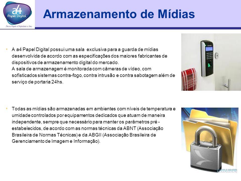 Armazenamento de Mídias A a4 Papel Digital possui uma sala exclusiva para a guarda de mídias desenvolvida de acordo com as especificações dos maiores