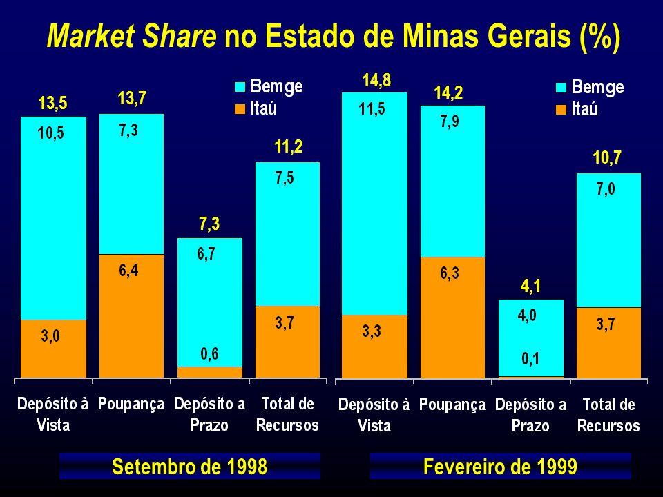 Market Share no Estado de Minas Gerais (%) Setembro de 1998Fevereiro de 1999