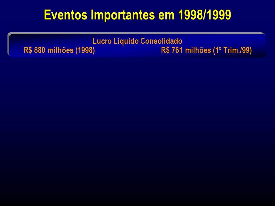 Classificação dos 6 Maiores Bancos por Patrimônio Líquido 31 de Março de 1999 Bancos (*) Banco do Brasil (2) Bradesco Itaú Banespa (2) (3) CEF (1)(2) Unibanco 7.186 6.750 5.182 4.575 3.582 3.092 557 257 761 432 387 203 34,8 16,1 72,9 43,5 10,8 28,9 n.d.