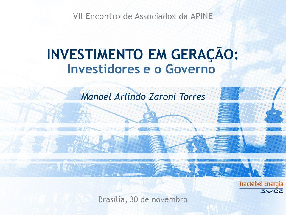 Brasília, 30 de novembro VII Encontro de Associados da APINE Investidores e o Governo INVESTIMENTO EM GERAÇÃO: Manoel Arlindo Zaroni Torres