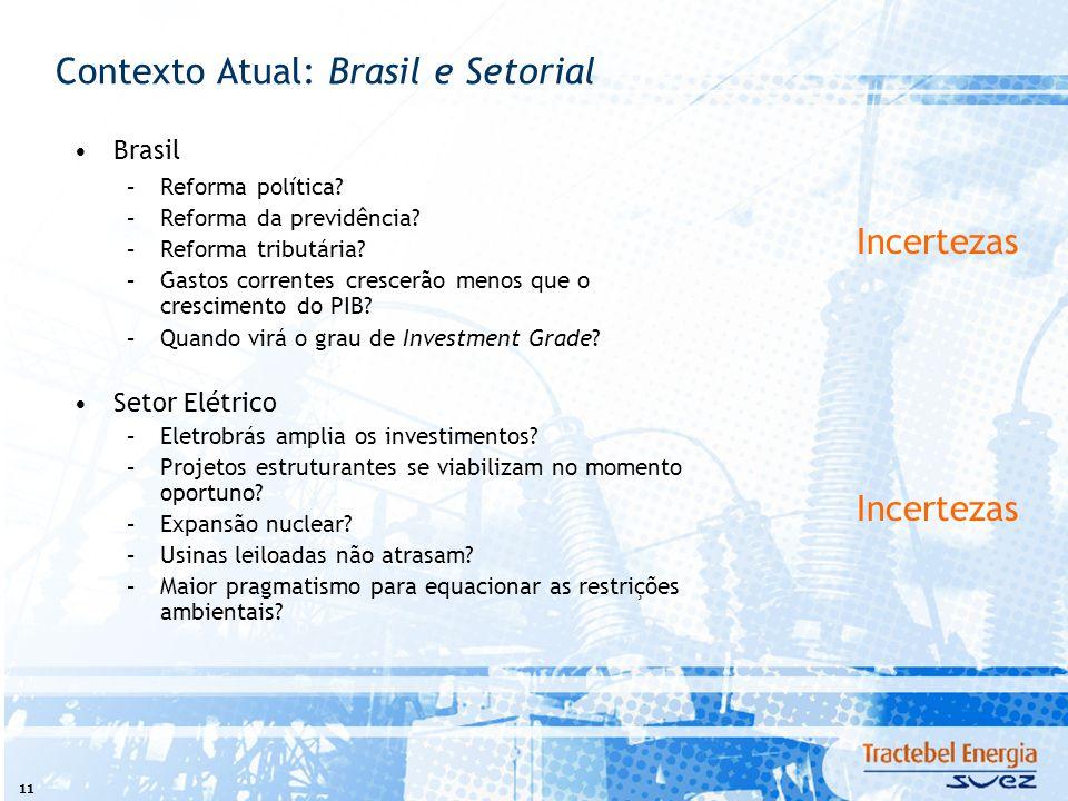 11 Brasil –Reforma política? –Reforma da previdência? –Reforma tributária? –Gastos correntes crescerão menos que o crescimento do PIB? –Quando virá o