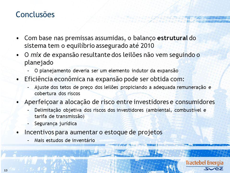 13 Conclusões Com base nas premissas assumidas, o balanço estrutural do sistema tem o equilíbrio assegurado até 2010 O mix de expansão resultante dos