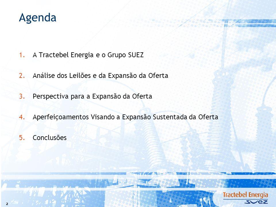 2 Agenda 1.A Tractebel Energia e o Grupo SUEZ 2.Análise dos Leilões e da Expansão da Oferta 3.Perspectiva para a Expansão da Oferta 4.Aperfeiçoamentos