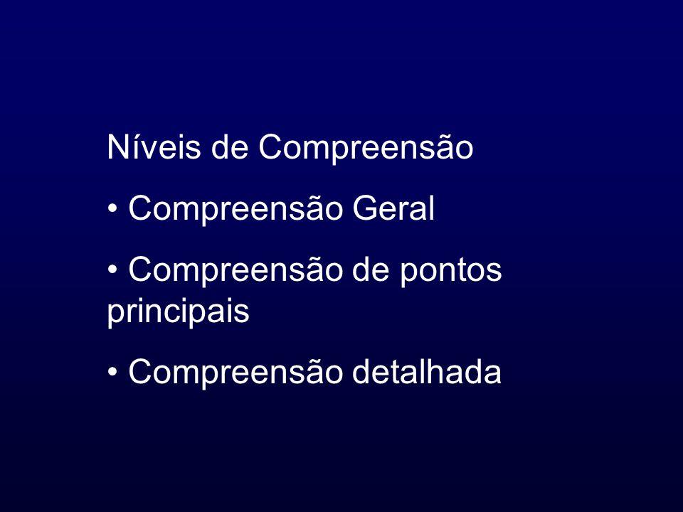 Níveis de Compreensão Compreensão Geral Compreensão de pontos principais Compreensão detalhada