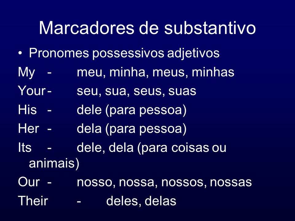 Marcadores de substantivo Pronomes possessivos adjetivos My-meu, minha, meus, minhas Your-seu, sua, seus, suas His-dele (para pessoa) Her-dela (para p