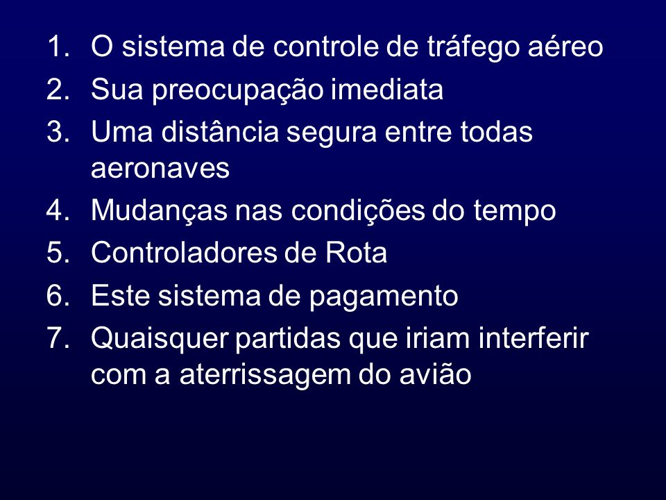 1.O sistema de controle de tráfego aéreo 2.Sua preocupação imediata 3.Uma distância segura entre todas aeronaves 4.Mudanças nas condições do tempo 5.C
