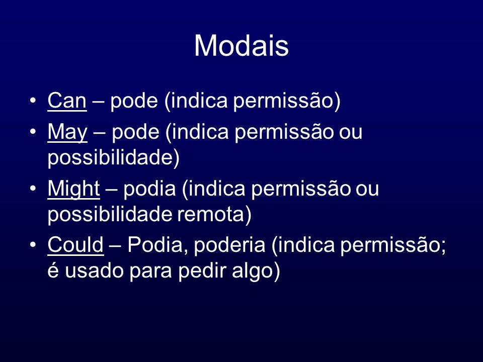 Modais Can – pode (indica permissão) May – pode (indica permissão ou possibilidade) Might – podia (indica permissão ou possibilidade remota) Could – P