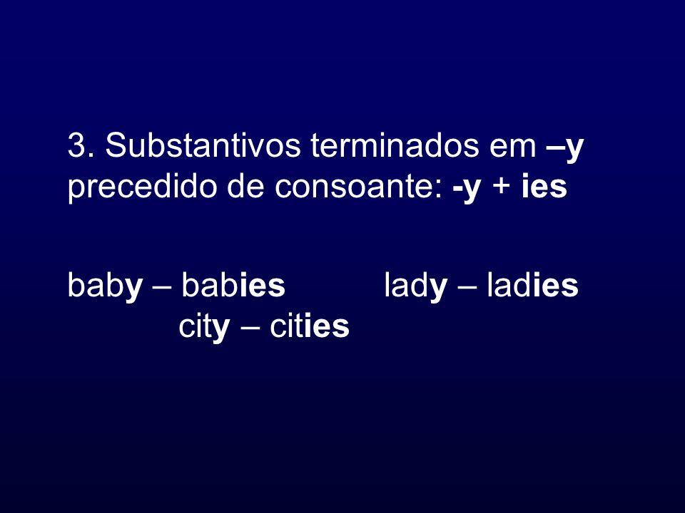 3. Substantivos terminados em –y precedido de consoante: -y + ies baby – babieslady – ladies city – cities